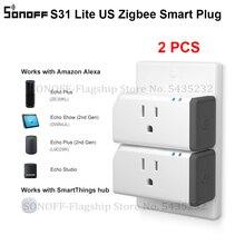 2 pièces Itead SONOFF S31 Lite US Smart Zigbee prise prise vocale télécommande commutateur de maison intelligente fonctionne avec Alexa SmartThings Hub