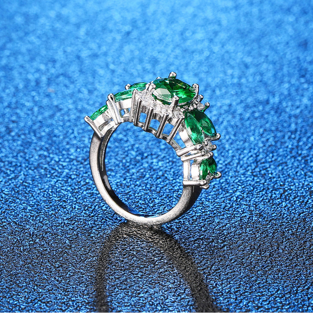 WEGARASTI argent 925 bijoux bague émeraude vert pierres précieuses anneaux pour les femmes à la mode parti 925 en argent Sterling femme bijoux anneau
