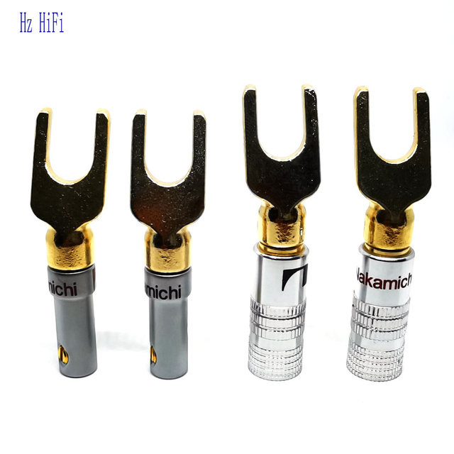 2PCS 24K Gold Plated Nakamichi DIY HIFI U Y Spade Speaker Plug Audio Screw Fork Connector for Binding Post Banana Jack Adapter