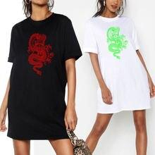 Женский пуловер платье футболка винтажное мини с принтом дракона