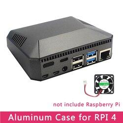 Raspberry Pi 4 Modelo B carcasa de aluminio de Metal ABS con interruptor de alimentación + ventilador de refrigeración + disipadores de calor para Raspberry Pi 4