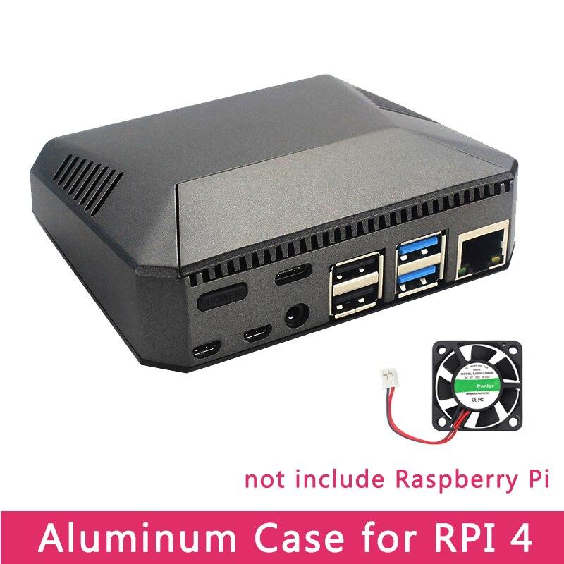 Raspberry pi 4 modelo b caso de metal alumínio abs caixa escudo com interruptor de alimentação + ventilador refrigeração dissipadores calor para raspberry pi 4