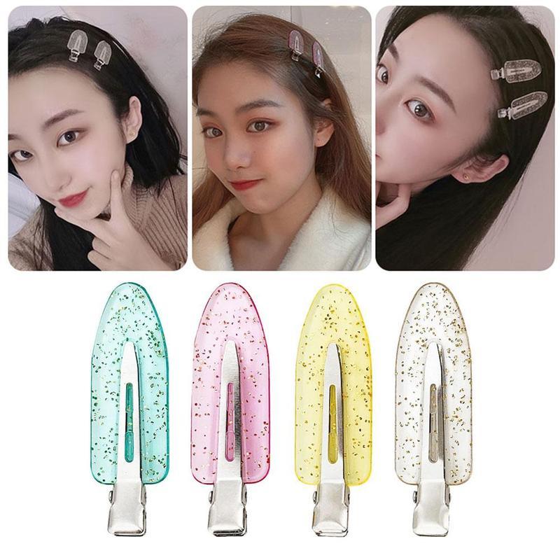 4PCS Candy Color Seamless No Bend Hair Clips Barrettes, No Mark Pin Curl Clip Makeup No Crease Hair Clip Hair Styling Bang Clips