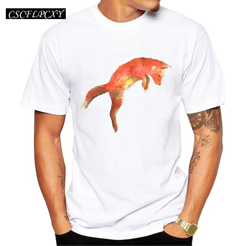 2019 Jumpping Fox Men T-Shirt Short Sleeve Casual T Shirt Hipster Red Fox Printed Tee O-Neck Summer Tops