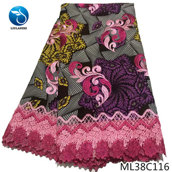 BEAUTIFICAL cotton fabrics for dress sewing nigerian wax style with embroidery prints lace guipure sewing tissu ML38C110-23