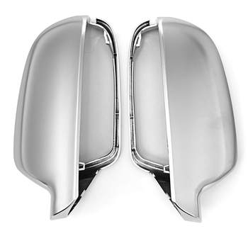 1Pair Side Wing Mirror Matt Chrome Rearview Side Mirror Covers Caps Housing Cover For Audi A3 A4 A5 L+R Replacement