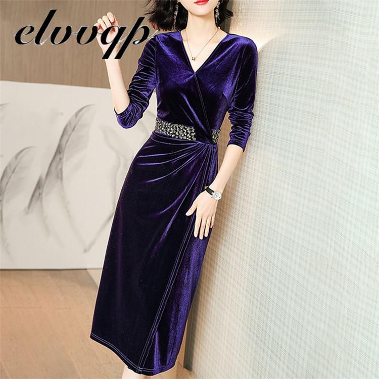 Женское роскошное бархатное платье с бисером женское элегантное