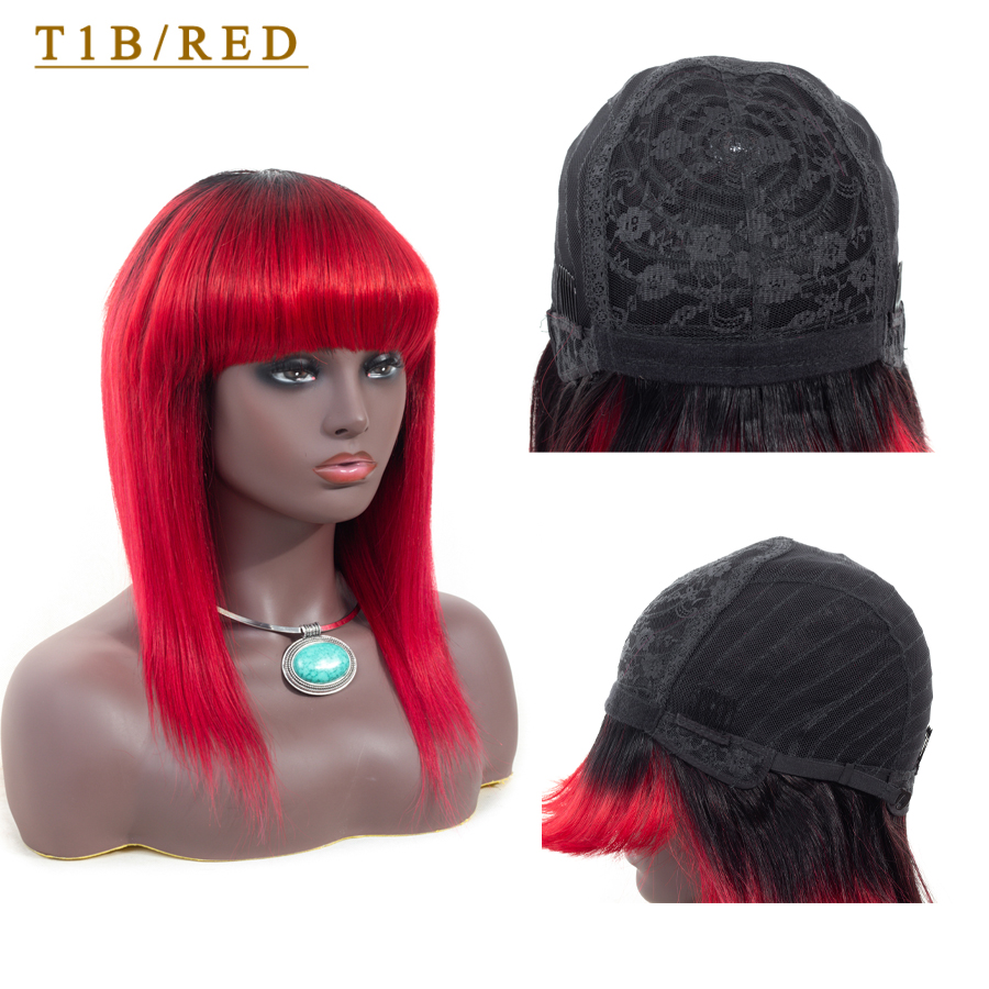 Human Hair Wigs Straight Hair Wig With Bang For Black Women Ombre 1B/27 Blonde 1B/118 Red 99J Burgundy Dorisy Non Remy Wig