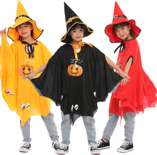 цена на Halloween Costume Children Cosplay Clothes Girl Witch Pumpkin Costume Cape Cloak Carnival Performance Birthday Party