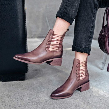 SWYIVY Vintage Shoes Woman Winter Boots Ankle Sexy Bandage Winter Shoes Female 2019 New Leather Boots Women Snowboots Thick Heel