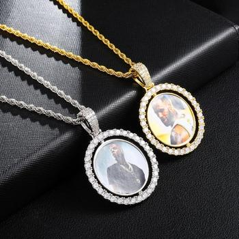 Custom Made Photo Rotating Double Sided Lockets Pendant Roundness Solid Back Pendant Necklace  Tennis Chain Zircon Men Hip Hop american cartoon emojis hold guns personality pendant set with zircon hip hop double color necklace accessories