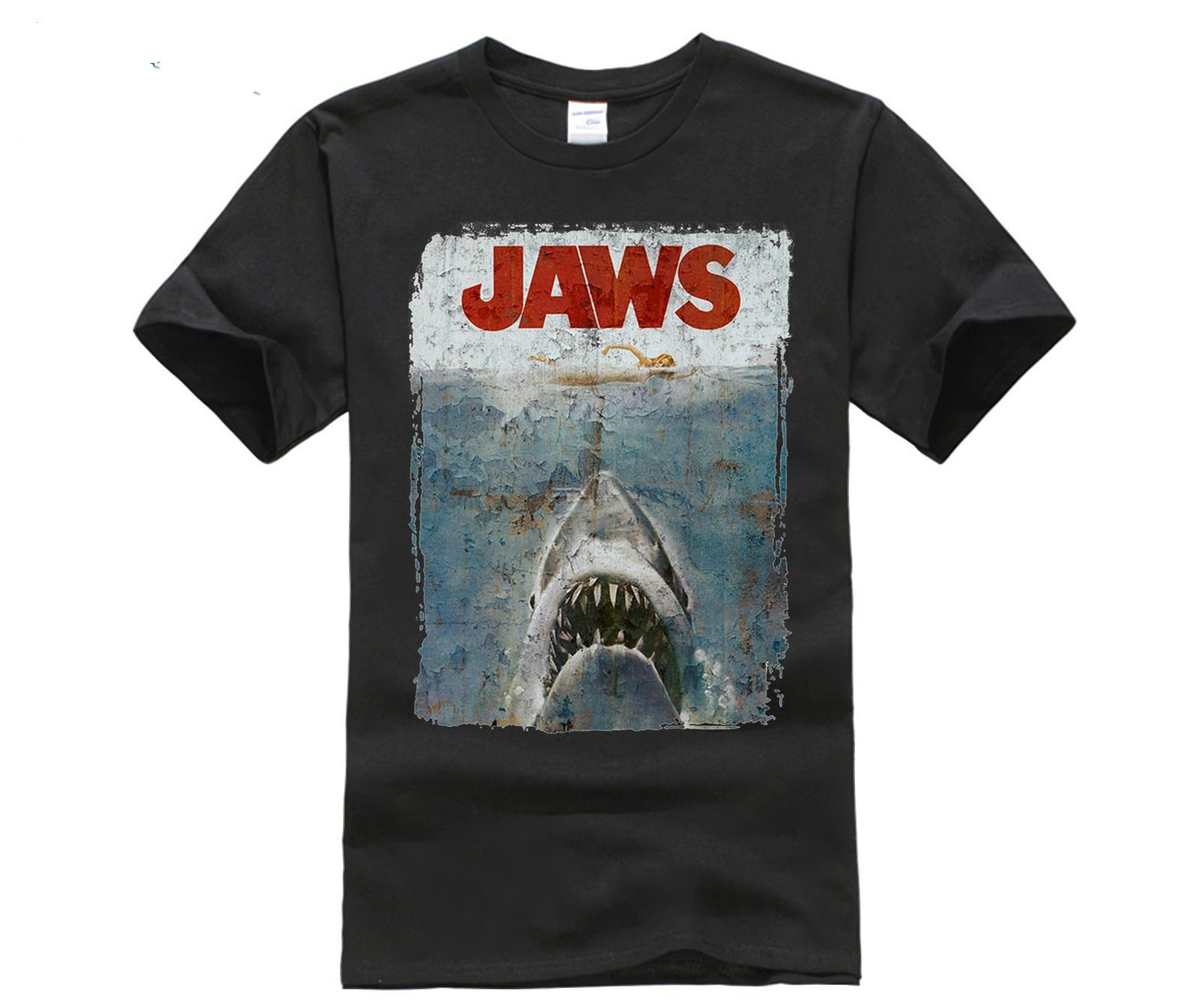 funny men cotton t shirt Men sporter t shirts JAWS DISTRESSED SPIELBERG RETRO MOVIE POSTER sporter t shirts