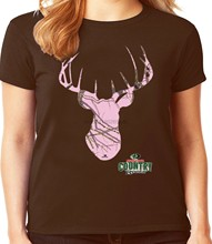 Brown Pink Camo Mossy Oak Deer Decal Ladies Tee Womens Clothing T-shirt Gifts(China)