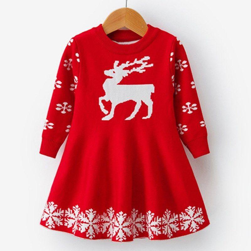 Kids Dresses For Girls Long Sleeve Deer Snowflake Print Dress New Year Costume Princess Dress Kids Innrech Market.com