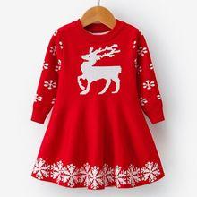 Kids Girls Long Sleeve Deer Snowflake Print Dress Christmas Clothes