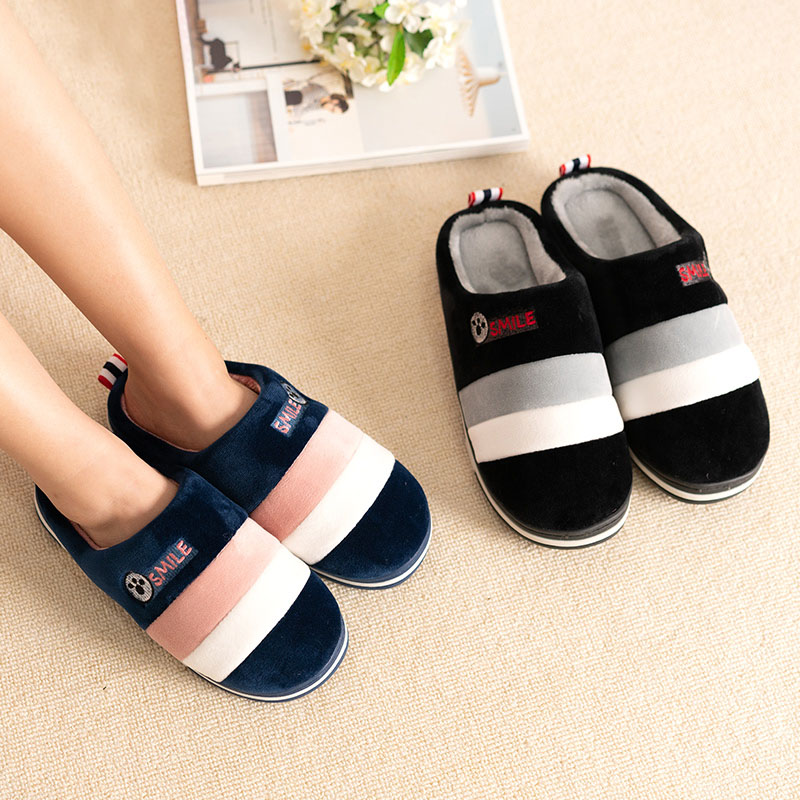 2019 Winter Couples Cotton Slippers Handbag With Indoor Warm Autumn Antiskid Lovely  Home  Mixed Color Shoes Man And Woman