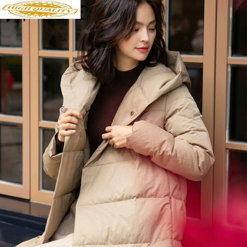 White Duck Down Jacket Women Clothes 2019 Winter Coat Women Korean Slim Puffer Jacket Women Hooded Warm Parka 6249 YY2035
