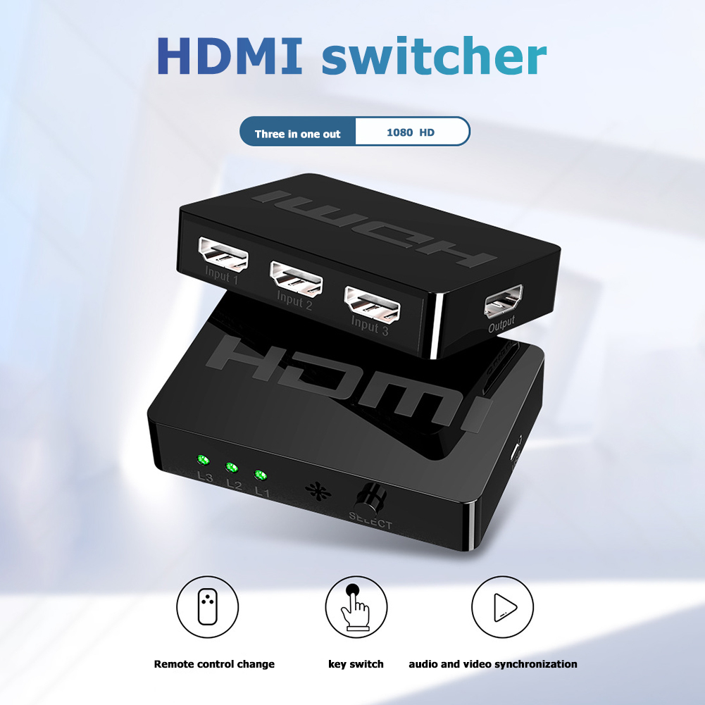 Switcher Classic Colors Simple Enduring HW-HD301M 3 Port 1080P HDMI 3x1 HDMI Splitter Box With Remote Control