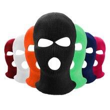 Máscara de cobertura facial três 3 buracos balaclava malha chapéu exército tático cs inverno esqui ciclismo motocicleta máscara gorro chapéu cachecol quente