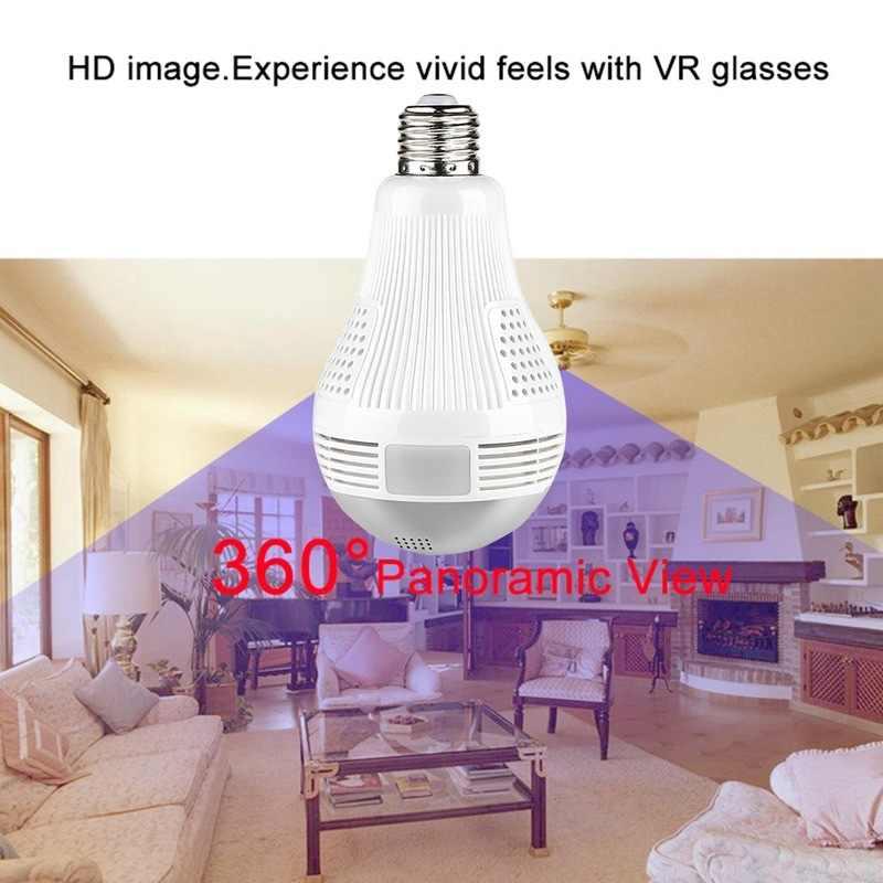 หลอดไฟกล้องWiFi Lampada Wifi 360 960P 1080Pโคมไฟกล้องIP Panoramic Home Securityกล้องวงจรปิดFisheye home Security