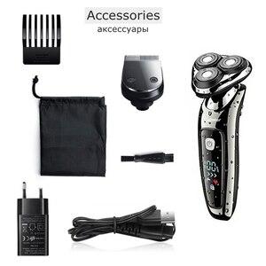 Image 5 - Rasoir électrique facial pour hommes, rechargeable par usb, tête rotative, rasoir sec et humide, pour barbe, kit de toilettage 2 en 1