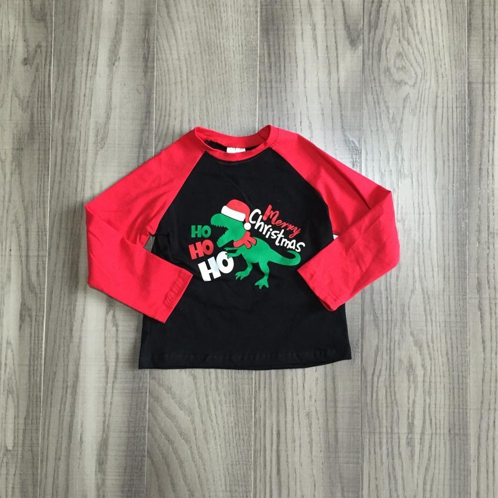 Girlymax Fall/Winter Christmas Dinosaur Cotton Milk Silk Top Long Sleeve T-shirt Baby Boys Girls Raglan Boutique Kidswear hohoho 3