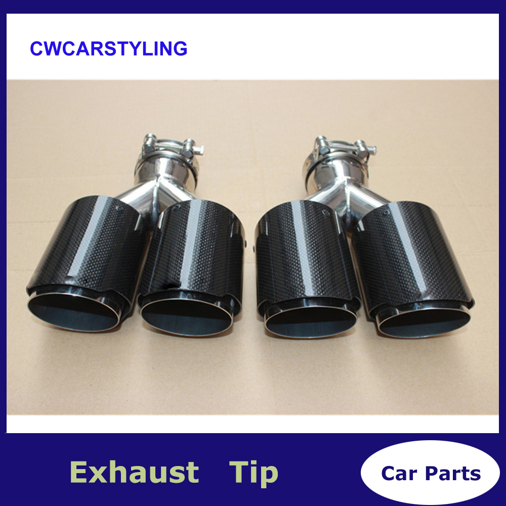63mm//89mm Curved Exhaust Tips Car Akrapovic Carbon Fiber Muffler Pipe Universal
