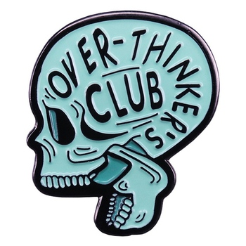 Skull Thinker Enamel Pin Overthink Club Anatomy Anxiety Skull Badge Overthinking Brooch Shirt Bag Skeleton Lapel Pin Jewelry image