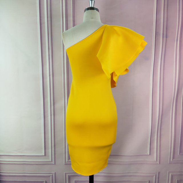 Yellow Party One Shoulder Ruffles Dress 6