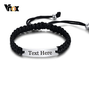 Vnox Handmade Braided Rope Bracelets for Men Woman Customize Engrave Name Plate ID Bracelet Length Adjustable