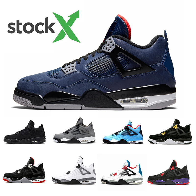 Stock X Loyal Blue Retro 4 4s IV Basketball Shoes Bred White Cement What The Cactus Jack Cool Grey Men Women Sneakers