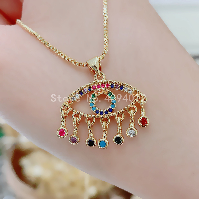 10pcs,Women CZ Pendant Necklace,Fashion Jewelry, Pop Charms, Eyes Design,Can Wholesale