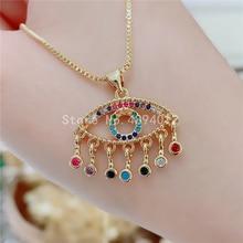 10pcs,Women CZ Pendant Necklace,Fashion Jewelry, Pop Charms, Eyes Design,Can Wholesale
