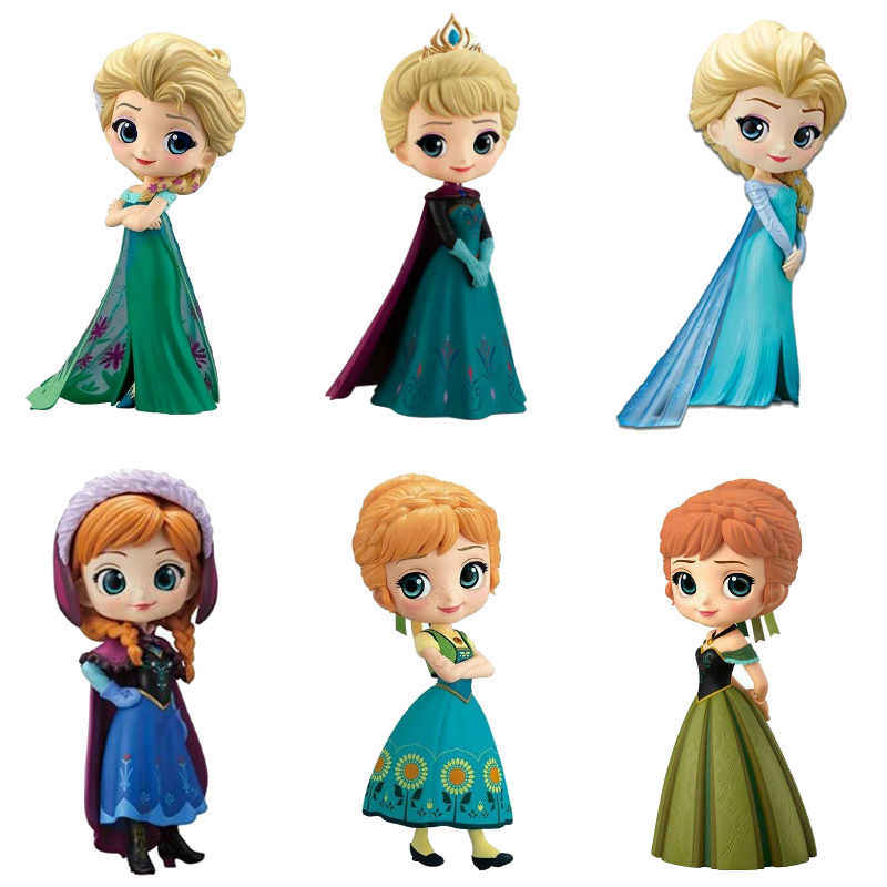 Hot Disney Q Posket Frozen 2 Queen Elsa & Anna Figure Mainan Boneka Aurore PVC Anime Boneka Figure Collectible Model mainan Anak