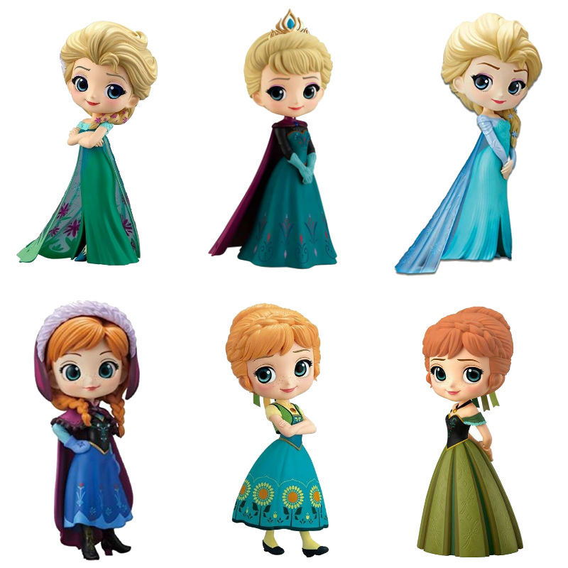 Hot Disney Q Posket Frozen 2 Queen Elsa & Anna Figure Toys Dolls Aurore PVC Anime Dolls Figures Collectible Model Kids Toys
