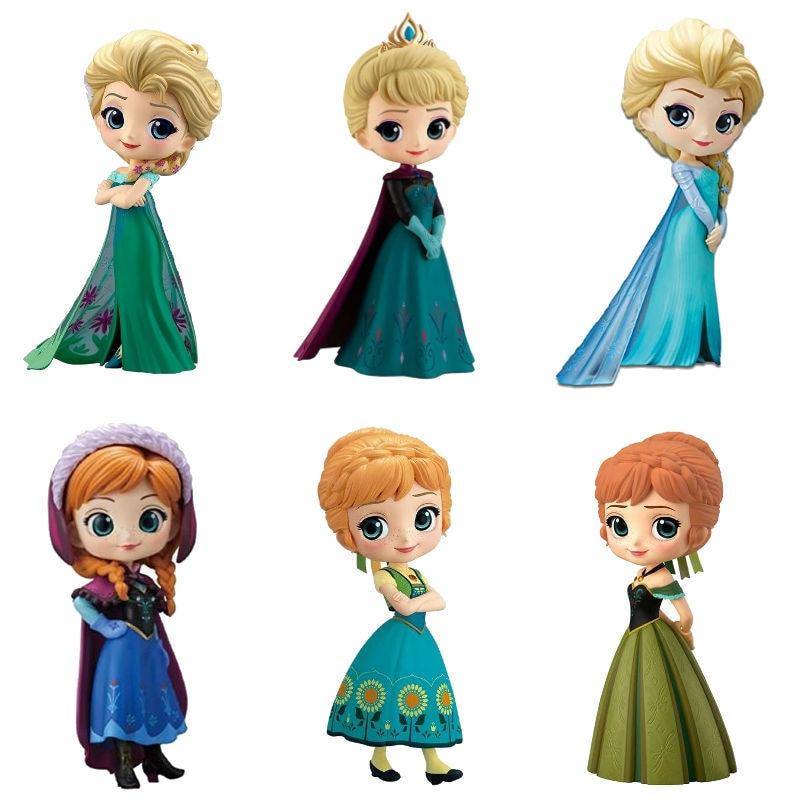 Hot Q Posket Queen Elsa & Anna Figure Toys Dolls Aurore PVC Anime Dolls Figures Collectible Model Kids Toys