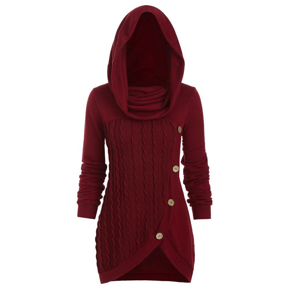 Suéter de punto irregular de cuello de pila con botones de retazos de color sólido de talla grande para mujer Suéter de invierno para hombre suéter informal hombre ajustado Jersey de punto