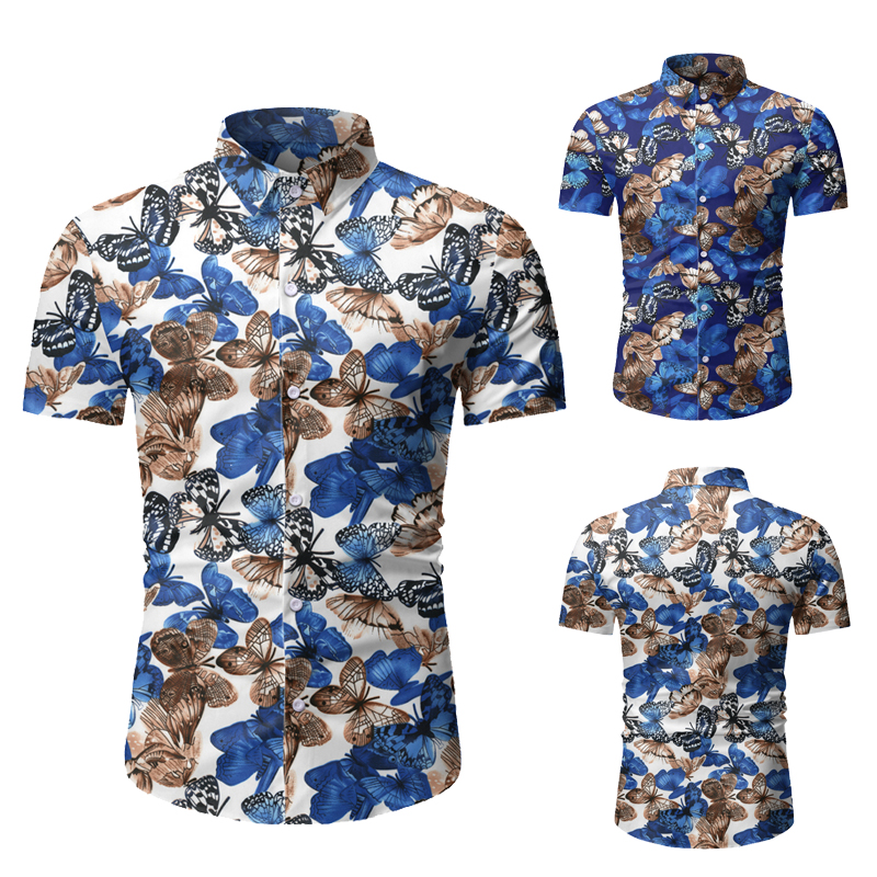 2020 Fashion Casual Hawaiian Shirt Men Floral Print Short Sleeve Shirts Mens Button Regular Slim Fit Blouse Summer Shirt