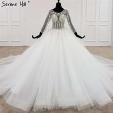 לבן גבוהה סוף O צוואר סקסי שמלות כלה 2020 יוקרה יהלומים ואגלי ארוך שרוול הכלה שמלת HX0107 תפור לפי מידה