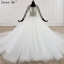 White High end O Neck Sexy Wedding Dresses 2020 Luxury Diamond Beading Long Sleeve Bride Gown HX0107 Custom Made