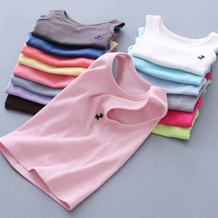 Children's Candy Color Vest 2021 Summer Girls Embroidered Sleeveless Top Children Outerwear Kids Vests  Kids Tanks