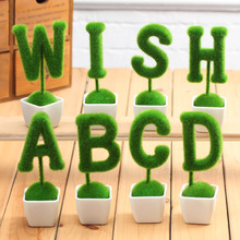Artificial Letter Flocking Bonsai Faux Tree Moss Grass Potted Fake Plant with pot Flower Set Free Choice for Home Decoration