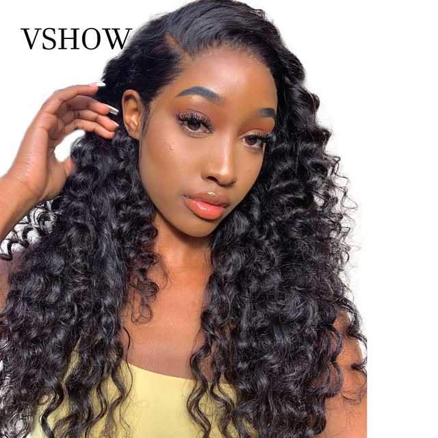 VSHOW Brazilian Deep Wave Wigs For Women 13x4 Lace Frontal WigS 180% Density Lace Closure Wigs Remy Loose Deep Human Hair Wigs
