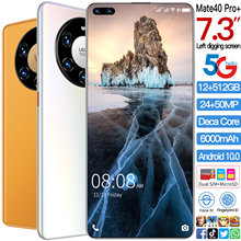 Global Version Mate40pro+ 7.3 Inch Smartphone Andriod 10.0 Face ID Mobile Phone MTK6889 Double SIM Card Cellphone