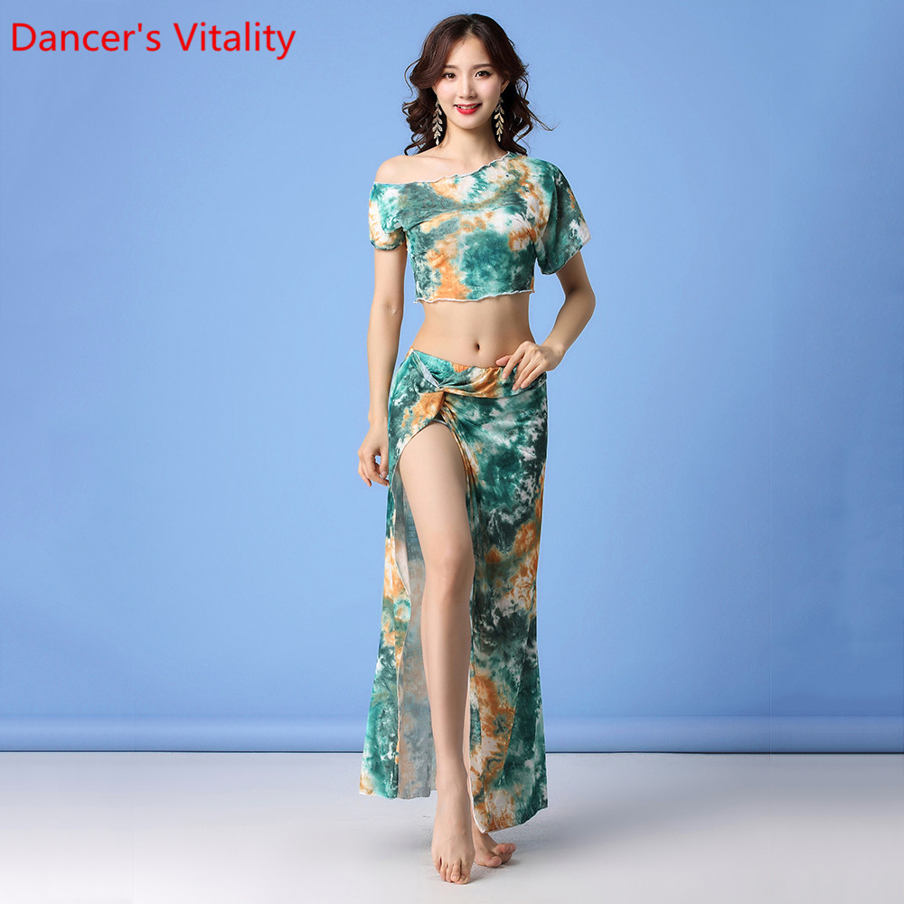 Women Belly Dance Practice Clothes New Yarn Sexy Oriental Indian Dancing Top Skirt Set Summer Beginners Stage Wear Outfits
