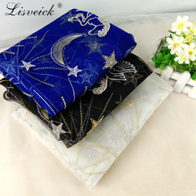1yard Star Horse Moon With Gold Silver Thread tulle Mesh African French Lace Fabric In Blue/black/white For Bridal Gowns