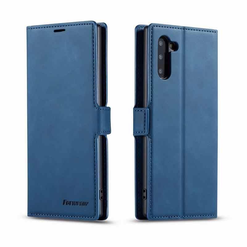 Cover Case Voor Samsung Galaxy Note 10 Plus Gevallen Luxe Magnetische Flip Plain Matte Portemonnee Telefoon Tas Voor Samsung Note 10 Plus Etui