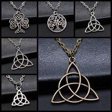 Triquetra colar com símbolo, joia de amuleto para homens, preto, irlandês, triquetra
