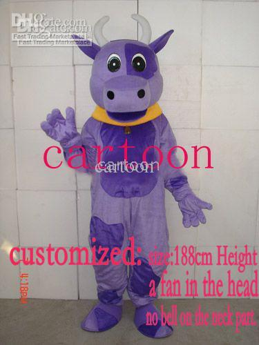 Version classique personnalisée Costume de mascotte de vache pourpre adulte Halloween fête d'anniversaire dessin animé vêtements Cosplay Costumes