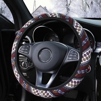 Four Season Flax Car Steering Wheel Cover Universal Vintage Printed Steering Wheel Covers Case Fit For Most Cars Styling image